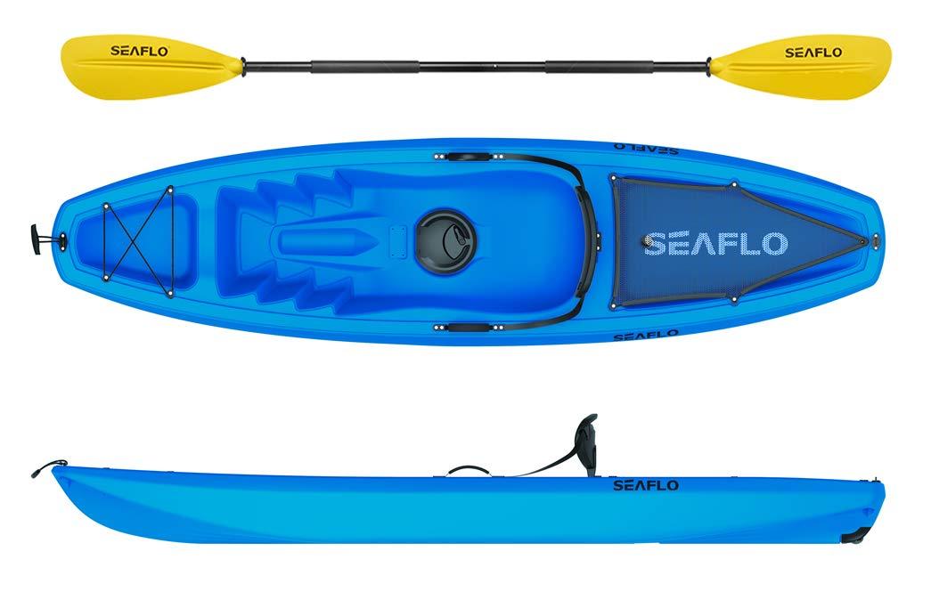 Seaflo Sit on Top Kajak mit Paddel und Angelrutenhalter Drachenstore blau