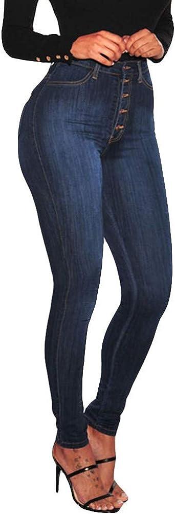 FIRERO Women Holes Jeans Sgredded Bottom Denim Pencil Pants Ladies Stretch High Waist Slim Light Blue Trousers