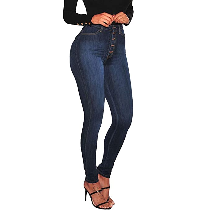 iLUGU Women High Waisted Skinny Denim Jeans Stretch Slim Jean Jacket Women Pants Calf Length Jeans