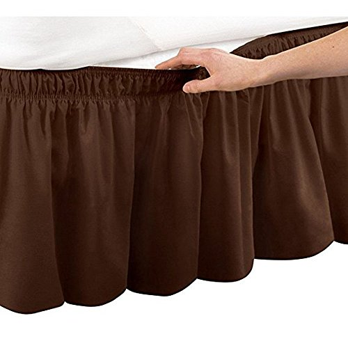 Brown Ruffle - Pleated Three Sides Fabrics Wrap Around Style Egyptian Cotton Elastic 18 inch Drop Dust Bed Skirt for Twin/Full,Queen,King Size Beds(King, Brown)