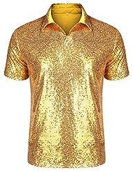 Men's Short Sleeve Turndown Sequins T-Shirts