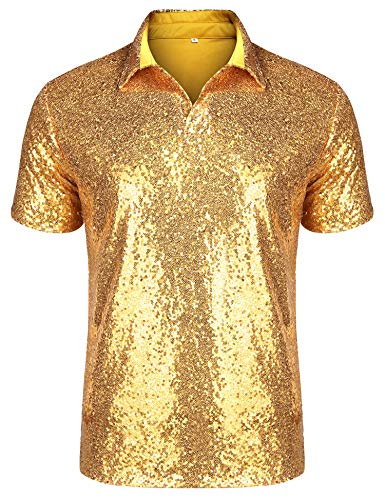 URRU Men's Relaxed Short Sleeve Turndown Sparkle Sequins Polo Shirts 70s Disco Nightclub Party T-Shirts Tops Gold L
