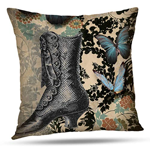(Pakaku Throw Pillows Covers for Couch/Bed 18 x 18 inch,Steampunk Floral Butterfly Vintage Victorian Shoe Home Sofa Cushion Cover Pillowcase Gift Decorative Hidden Zipper Summer Beach Sunlight)