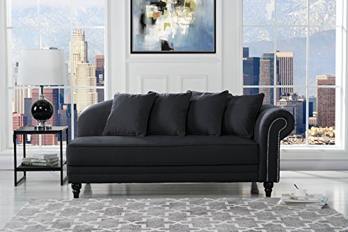 Black Chaise Lounge - Sofamania Large Classic Velvet Fabric Living Room Chaise Lounge with Nailhead Trim (Black)