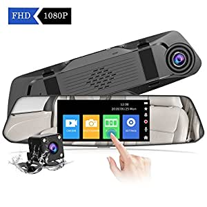 CHORTAU Mirror Dash Cam 4.8 Inches Touch Screen Full HD 1080P, 170°Wide Angle Front Camera And Waterproof Rear Camera, Car Camera With Emergency Recording, Parking Monitor, Reverse Monitor System
