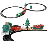 SumacLife Festive Santa and Snowman Figure 8 Decorative Table/Counter Top Large 35'' x 18'' Christmas Themed Train Track Set