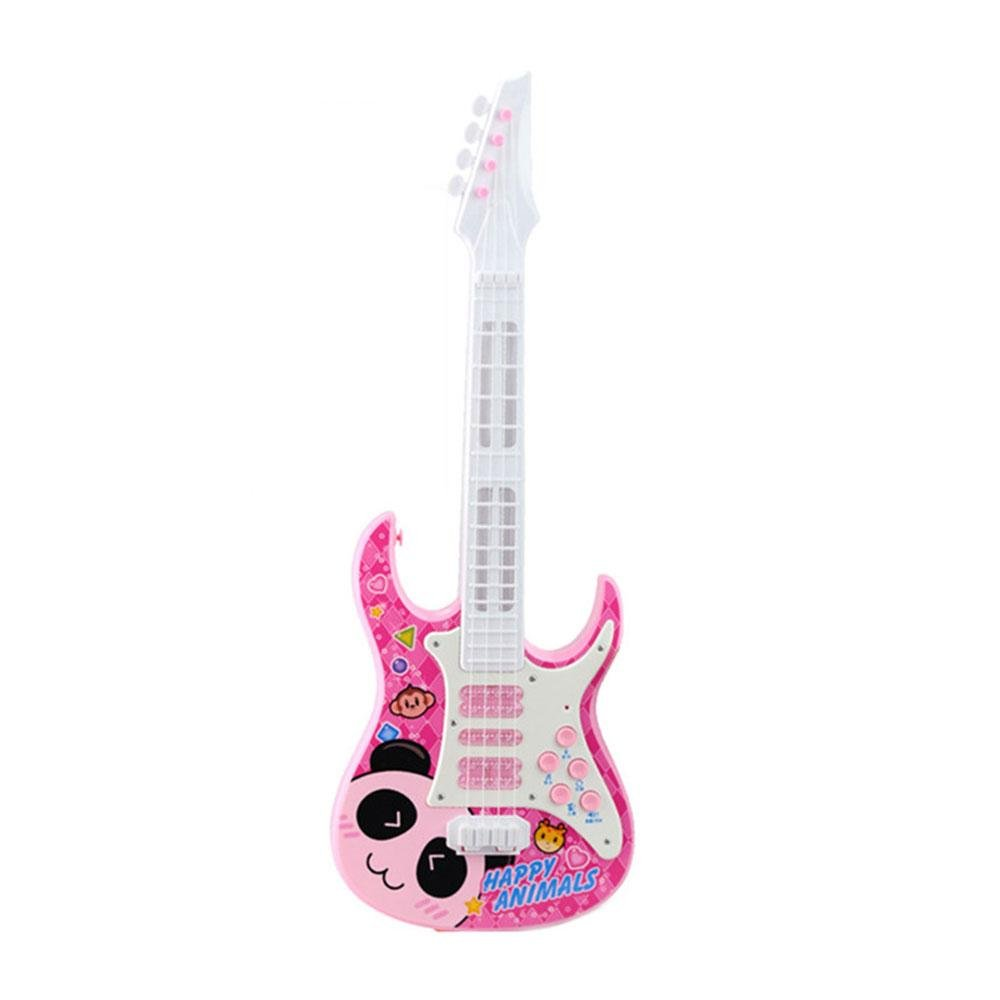 Pawaca Electric Guitar, 4 Strings Music Kids Electric Guitar Children Musical Instruments Educational Toy with Sound and Lights