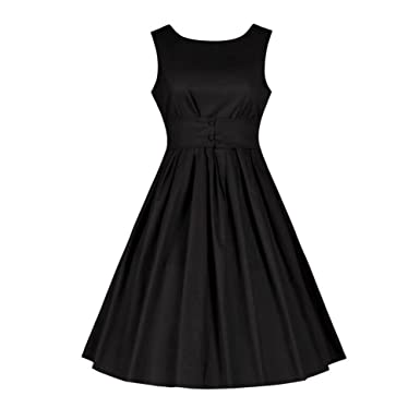 Haodasi Women Classy Vintage Sleeveless 1950s Hepburn Style Swing Party Prom Dress