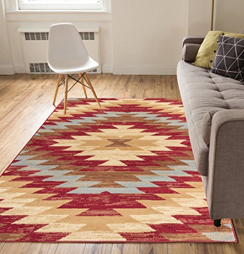Carly Medallion Red 5x7 ( 5' x 7' ) Southwestern Transitional Casual Classic Thin Value Area Rug Perfect for Living Room Dining Room Family Room