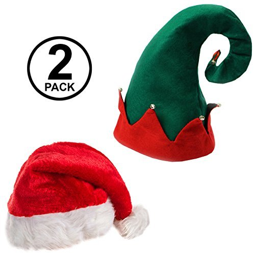 d984c66ec305e Santa Hats - Christmas Hats - Elf Hat With Bells - Christmas Party Hats - (