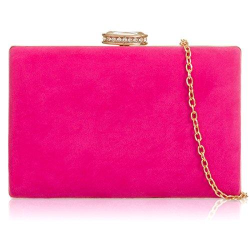 Xardi London - Cartera de mano con asa de Ante para mujer rosa (b)