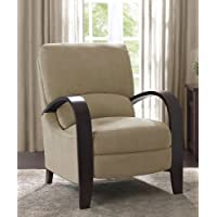 Microfiber Recliner Chair Bent Wood Armrest Reclining Armchair Backrest Footrest Foot Support That Provides Comfort and Relaxation to Your Office Home Living Room Furniture Foam Padded Couch Sofa