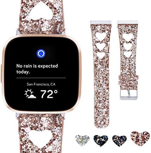 Moonooda Glitter Watch Band Compatible for Fitbit VersaVersa Lite EditionVersa SE Smart Watches BlingReplacement Wristband for Women MenSparkle Strap for Smartwatch Versa / Moonooda Glitter Watch Band Compatible for Fitbit VersaVer...