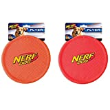 Nerf Dog Nylon Flying Disk Dog Toy, Large, (2-Pack), Red and Orange