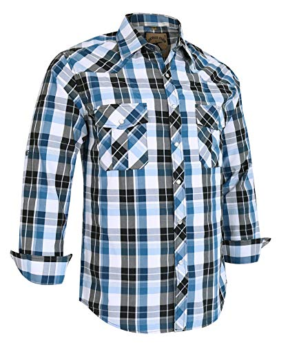 (Coevals Club Men's Long Sleeve Casual Western Plaid Snap Buttons Shirt (L, 17#Blue,Balck))