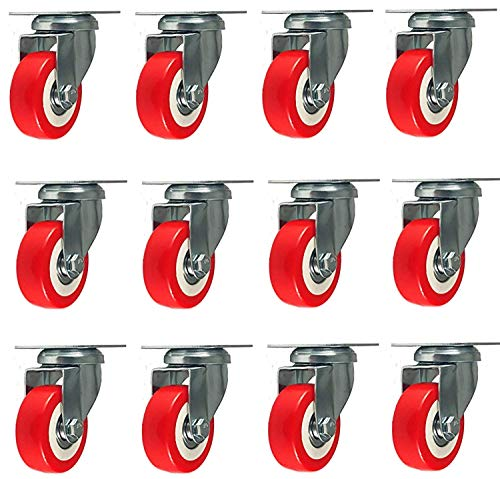 12 Pack 2-inch Caster Wheels Swivel Plate Casters On Red Polyurethane Wheels 1,500 Lbs