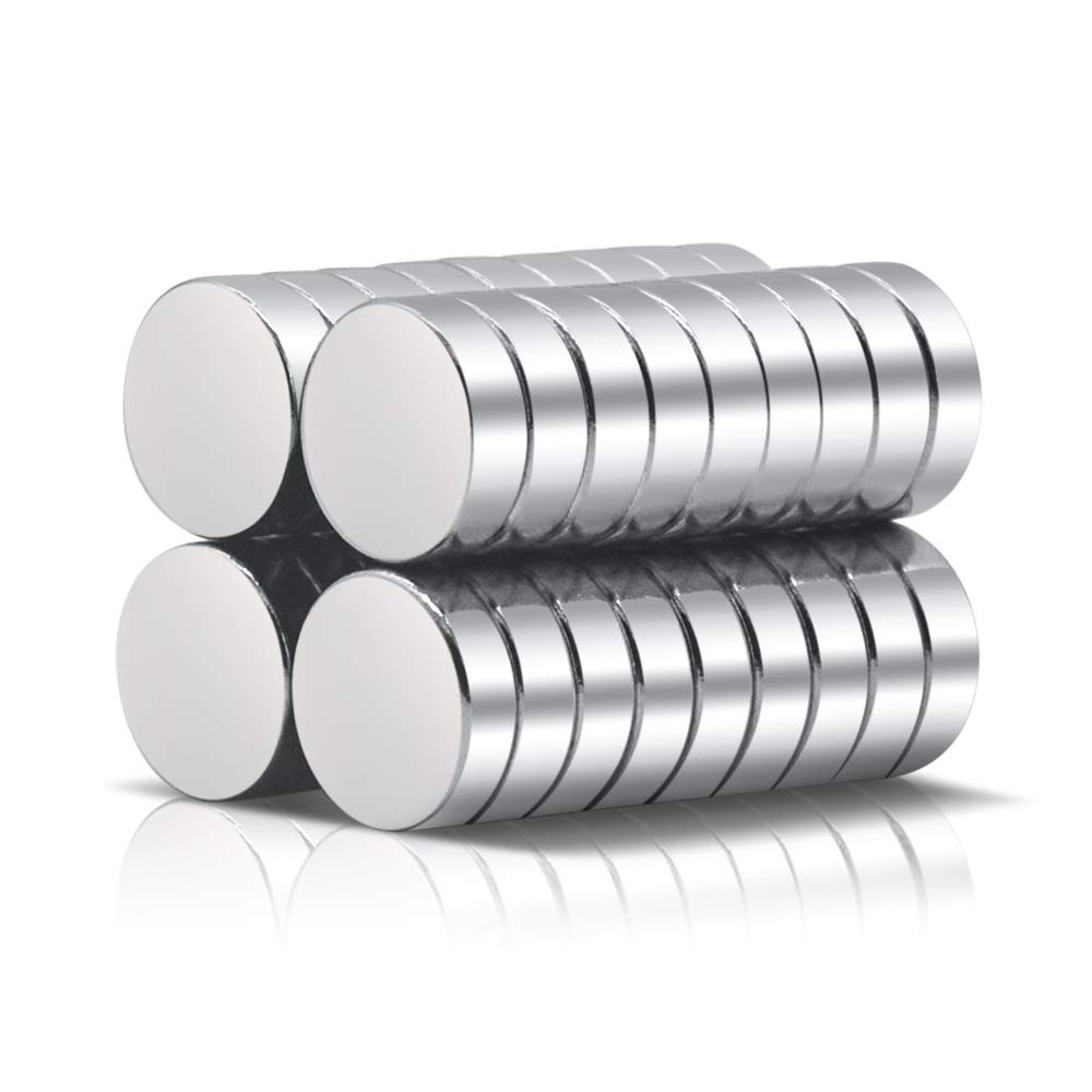 A AULIFE Refrigerator Magnets,36PCS Premium Brushed Nickel Fridge Magnets,Round Magnets,Office Magnets - 10 X 3 mm