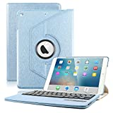 iPad Air Keyboard Case, KVAGO Stylish 360 Degree Rotating Swivel Case with Detachable Wireless Bluetooth Keyboard Case for Apple iPad Air 1st Gen (Model: A1474 / A1475 / A1476)- Blue