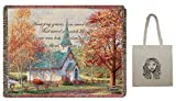 Chapel in The Woods Tapestry Throw, by Thomas Kinkade, 60'' X 50'' & Tote-2 Piece Gift Set