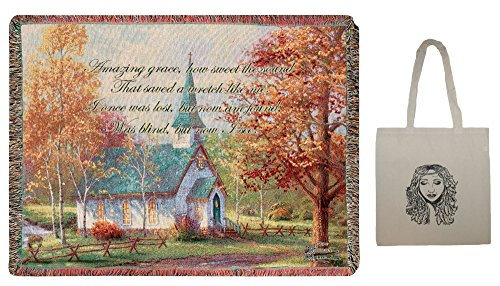 Chapel in The Woods Tapestry Throw, by Thomas Kinkade, 60'' X 50'' & Tote-2 Piece Gift Set by Manual Woodworkers (Image #1)