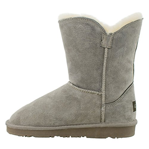 Calf SNJ Boot Women's Mid Classic Ankle Suede Mushroom Fur Leather Sheepskin 0d0qnrfzO