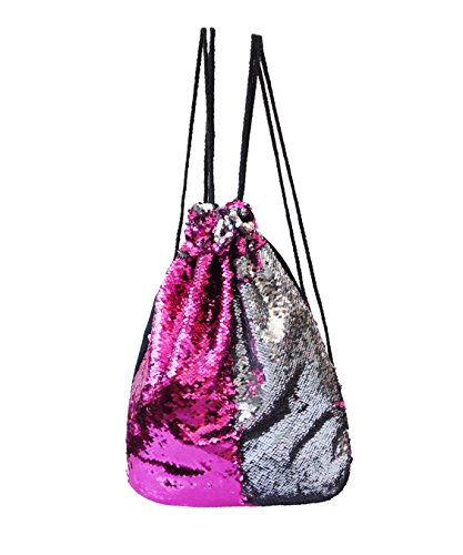 BAGOOE Mermaid Magic Reversible Sequin Twinkling DIY Patterns Quick Pack Travel Fashion Storage Shoulder Bag Pouch Backpack, Rose Silver For Sale