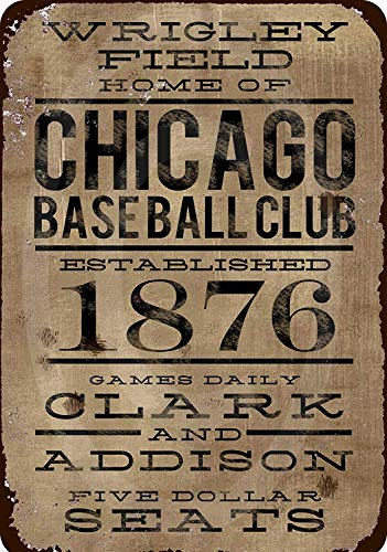 Jesiceny New Tin Sign Wrigley Field Home of Chicago Baseball Club Aluminum Metal Sign 8x12 Inches