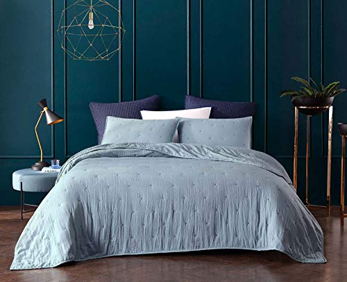 Bourina Reversible Quilt Coverlet Set Queen - Pre-Washed Microfiber Ultra Soft Lightweight Star Quilted Bedspread 3-Piece Quilt Set, Blue (Ultra Spa)