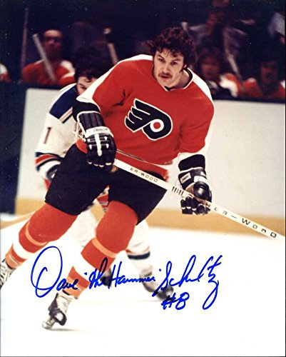 Dave Schultz Autographed/Original Signed 8x10 Action-photo w/the Philadelphia Flyers - He Added His Nickname 'The Hammer' & His Number 8