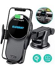 Fast Wireless Charger ELEGIANT Auto telefoonhouder 10W inductief laadstation 2 in 1 Kfz mobiele telefoon houder met ventilatie & zuignaphouder voor iPhone XS / XR / X / 8 + Samsung S9 / S8 en andere Qi modellen