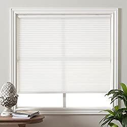 "Arlo Blinds 9/16"" Single Cell Light Filtering Cordless Cellular Shade, Color: Pure White, Size: 34.5""W x 60""H"