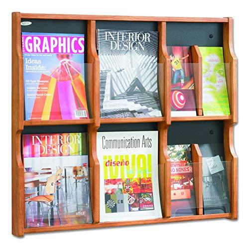 Safco Products 5703MO Expose Literature Display, 6 Magazine 12 Pamphlet, Medium Oak/Black (Magazine Rack Safco Oak)