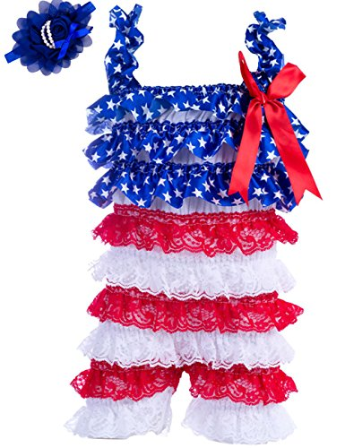 (Baby Girls Bowknot Lace Folds Romper and Headband (S(3-6month), Star))