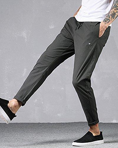 con Elastica Casual AnyuA para Gris Cintura Jogging Verde Pantalones Slim Lino De Hombre tXXSqF