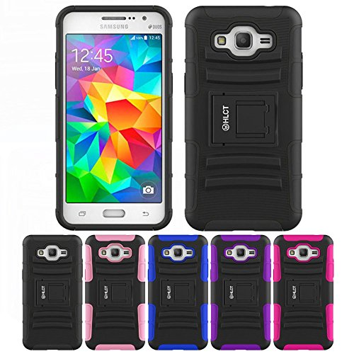 Price comparison product image Galaxy Grand Prime Case,  HLCT Rugged Shock Proof Dual-Layer PC and Soft Silicone Case With Built-In Kickstand for Samsung Galaxy Grand Prime (2014) (Black)