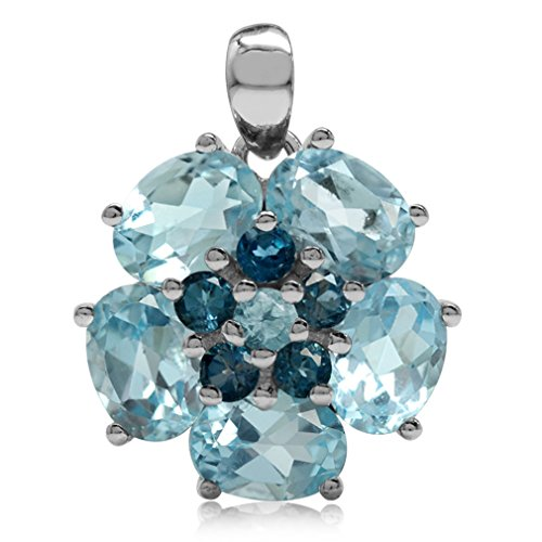 (7.69ct Genuine Blue Topaz & London Blue Topaz 925 Sterling Silver Flower Cluster Pendant)