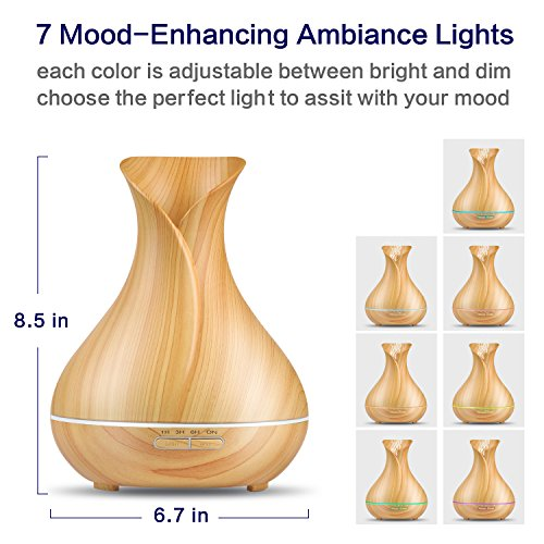 Essential Oil Diffuser,OliveTech 2017 Newest Wood Grain 400ml Ultrasonic Cool Mist Humidifier with 7 Color LED Lights Changing and Waterless Auto Shut-off for Home Office Bedroom Baby Room