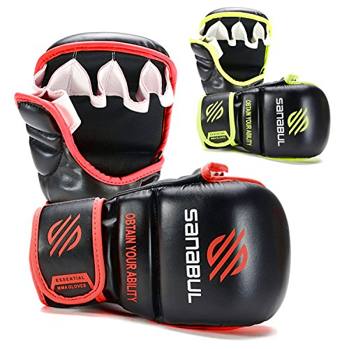 NEW ITEM Sanabul Essential 7 oz MMA Hybrid Sparring Gloves (Black/Red, Small/Medium)