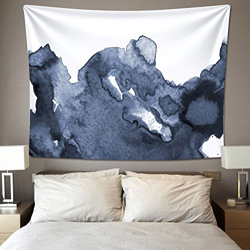 Wall Tapestry Wall hanging Tapestry Navy Blue Waves Watercolor Wall Tapestry Dorm Decor (51.2