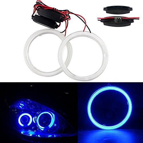 Angels Chip (GrandviewTM 1 Pair (2pcs) Car Light LED Chips 100MM 72SMD Angel Eyes Halo Ring Headlight Warning Lamps 12V with Shell-Blue)
