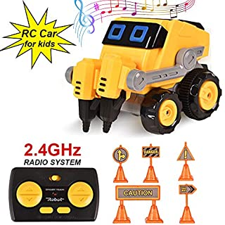 BIBIELF Mini Remote Control Car for Kids, RC Stunt Car with Dancing Music and Demo Program, STEM Toys Birthday for Boys and Girls (Drill Machine Car Toy)