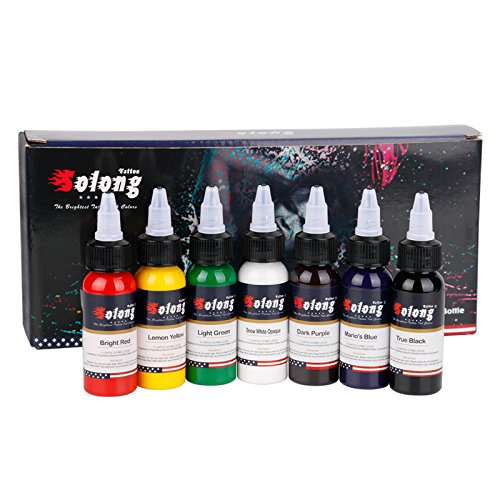 Solong Tattoo Professional 1 oz 7 Basic Colors Tattoo Ink Set Pigment Kit TI302-30-7
