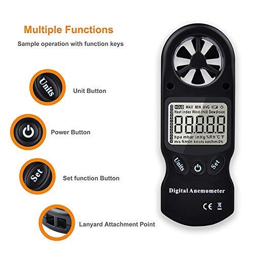Handheld Digital Anemometer,8-in-1 Multi-Function Anemometer Weather Meter with Temperature, Humidity, Dewpoint, Heat Index, Wind Chill, Altitude Barometer