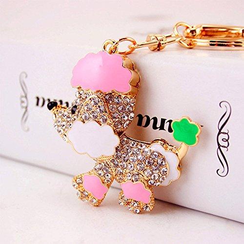 Jzcky Shzrp Lovely Poodle Shape Crystal Rhinestone Keychain Key Chain Sparkling Key Ring Charm Purse Pendant Handbag Bag Decoration Holiday Gift(Pink)
