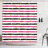 Black White and Pink Shower Curtain Ambesonne Gold and White Shower Curtain by, Romantic Teenager Love Sign Hearts on Grunge Stripes Lines, Fabric Bathroom Decor Set with Hooks, 70 Inches, Hot Pink Black and White