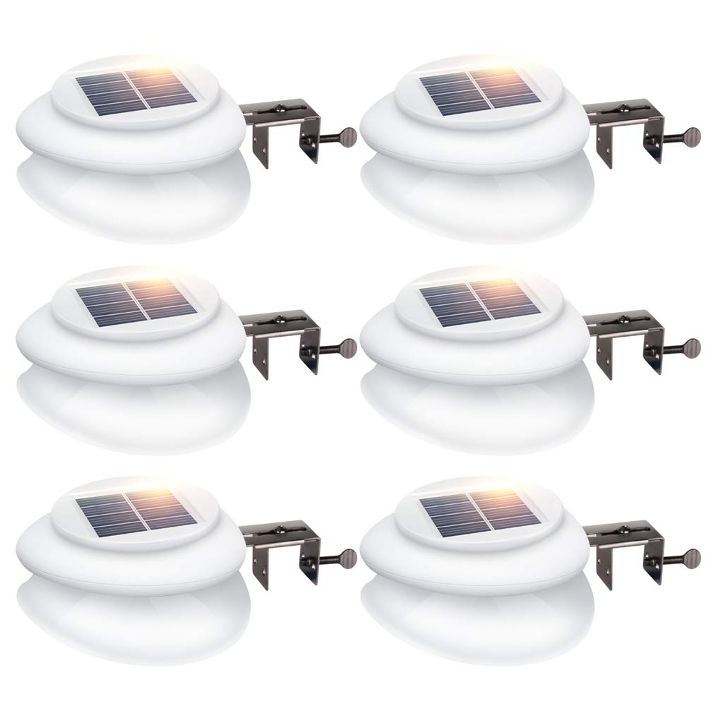 Solar Gutter Lights, DS Lighting Outdoor 9 LED Fence Light Waterproof Security Lamps for Eaves Garden Landscape Pathway (Cool White, 6 Pack)