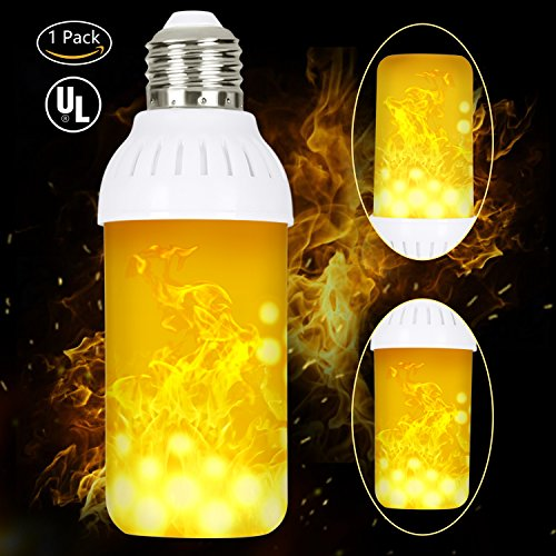 HogarTech Flame Bulbs Fire Upside Down, LED Flickering Flame Effect Light Bulb E26 Base, UL Listed, Simulated Atmosphere Lighting for Bar/Hotel/Pathway/Festival Decoration - Upgraded Lamp 1 Pack (Glass Door Fireplace Enclosure)