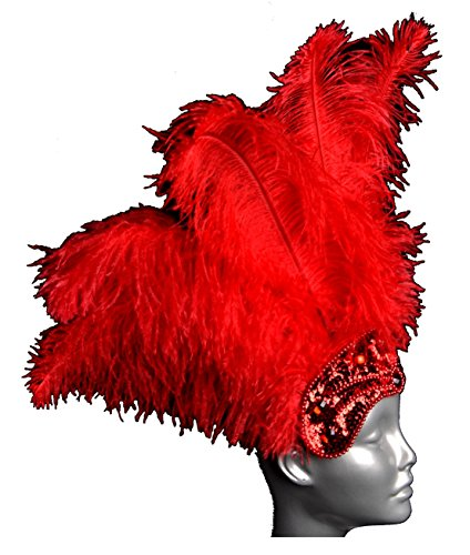 Ostrich Feather Carnival Headdress (Red) -
