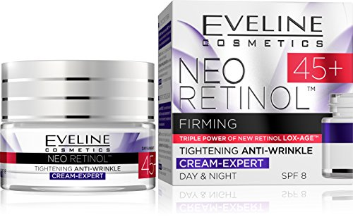 Neo Retinol Expert Moisturizing Anti Wrinkle Anti Aging Day and Night Cream Reduce Wrinkle Fine Lines Even Skin Tone Age Spots Sun Spots Ages 45 and Up from Eveline Cosmetics