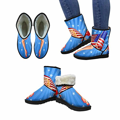 InterestPrint Womens Snow Boots Pin Up Blond Patriotic Woman With Us Flag On Blue Design Art Print Deco Unique Designed Comfort Winter Boots Multi 1 b0G34cE2fo